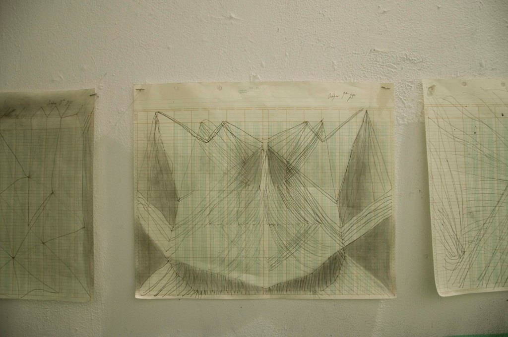 Faint Visions Installation The Secret Room Series: Mirror Drawing Title: Materials: Graphite and Ink on Ledger Paper Drawings made by both hands drawing at the same time.