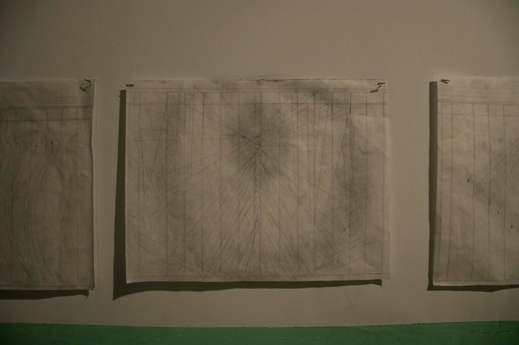 Faint Visions Installation The Secret Room Series: Mirror Drawing Title: Reflection of Materials: Graphite and Ink on white paper