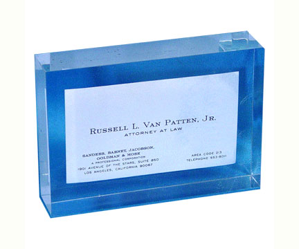 business card embedments in lucite