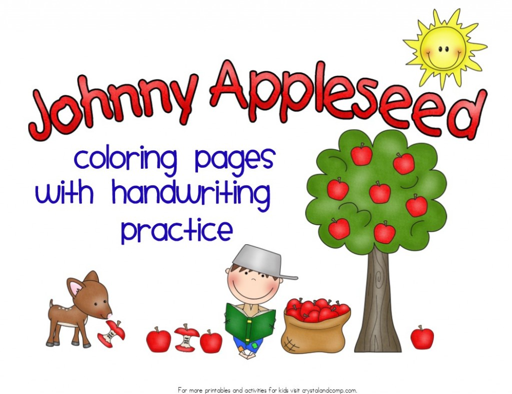Kid Color Pages Johnny Appleseed