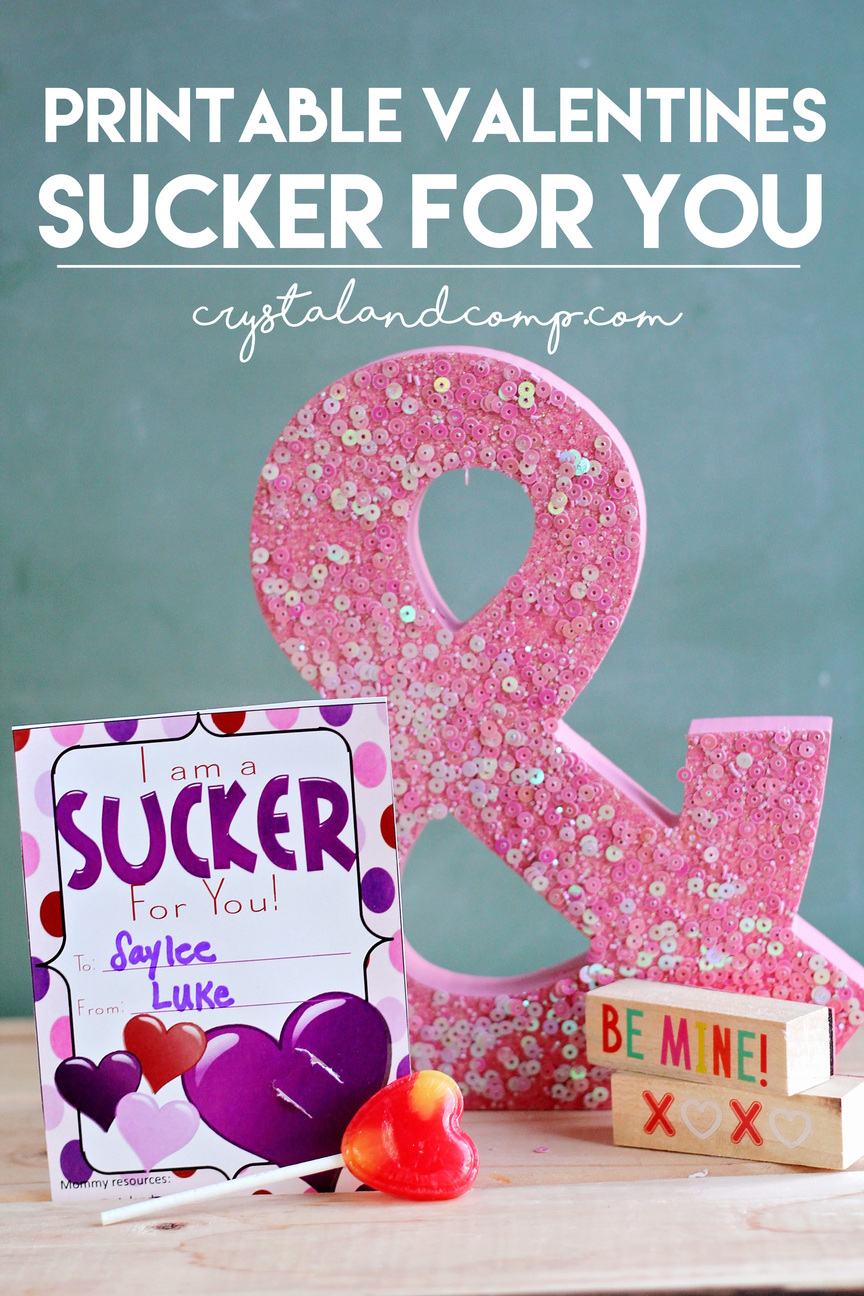 Printable Valentine Cards For Kids Sucker For You