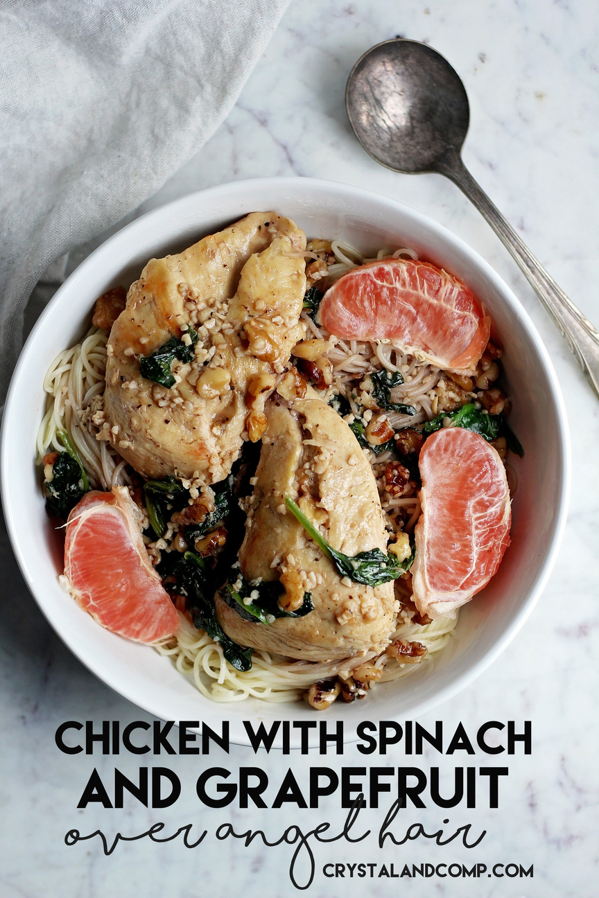 Chicken With Spinach And G Fruit Over Angel Hair