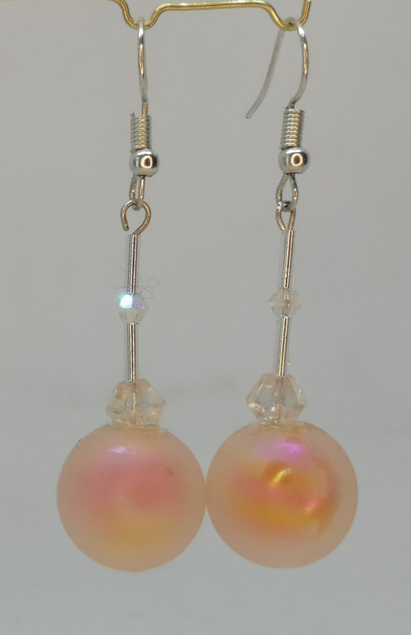 Frosted Bauble Earrings Orange