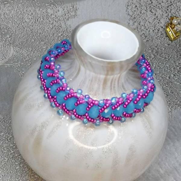 Handcrafted Crystal Bracelets Blue Cerise