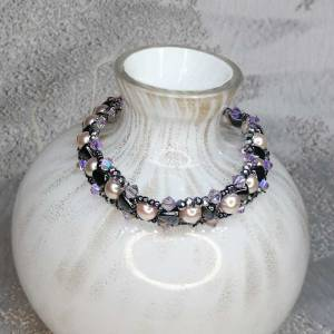 Pink Pearl Bracelet with crystal and Grey Bead