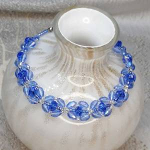 Pale Blue Crystal Bracelet - Crystal and Beads - 220mm