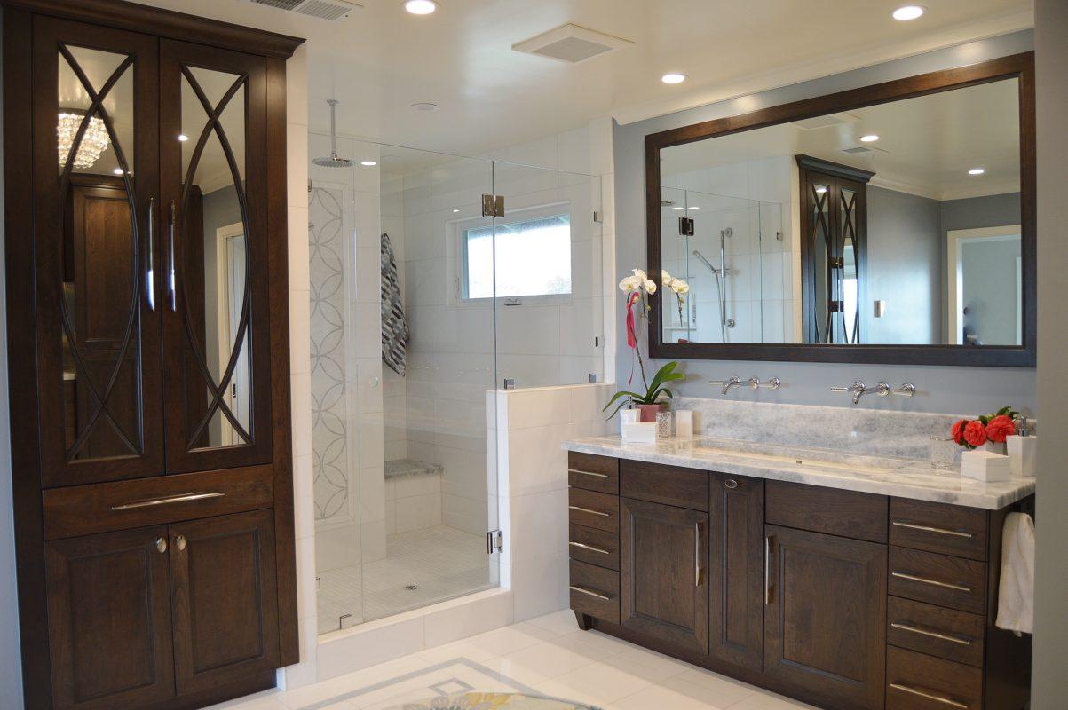 Dark Brown Bathroom Cabinets In Cherry