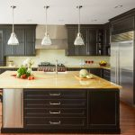 Transitional Painted Black Kitchen Crystal Cabinets