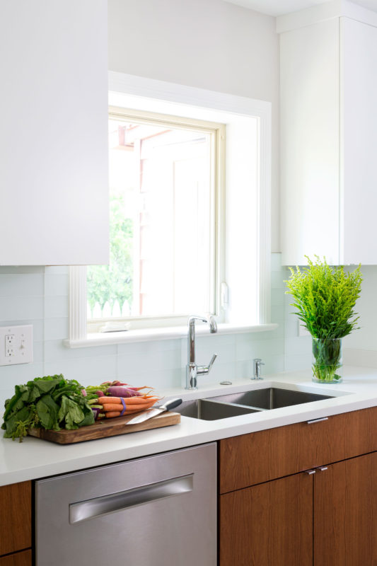 White And Cherry Wood Contemporary Kitchen Crystal Cabinets