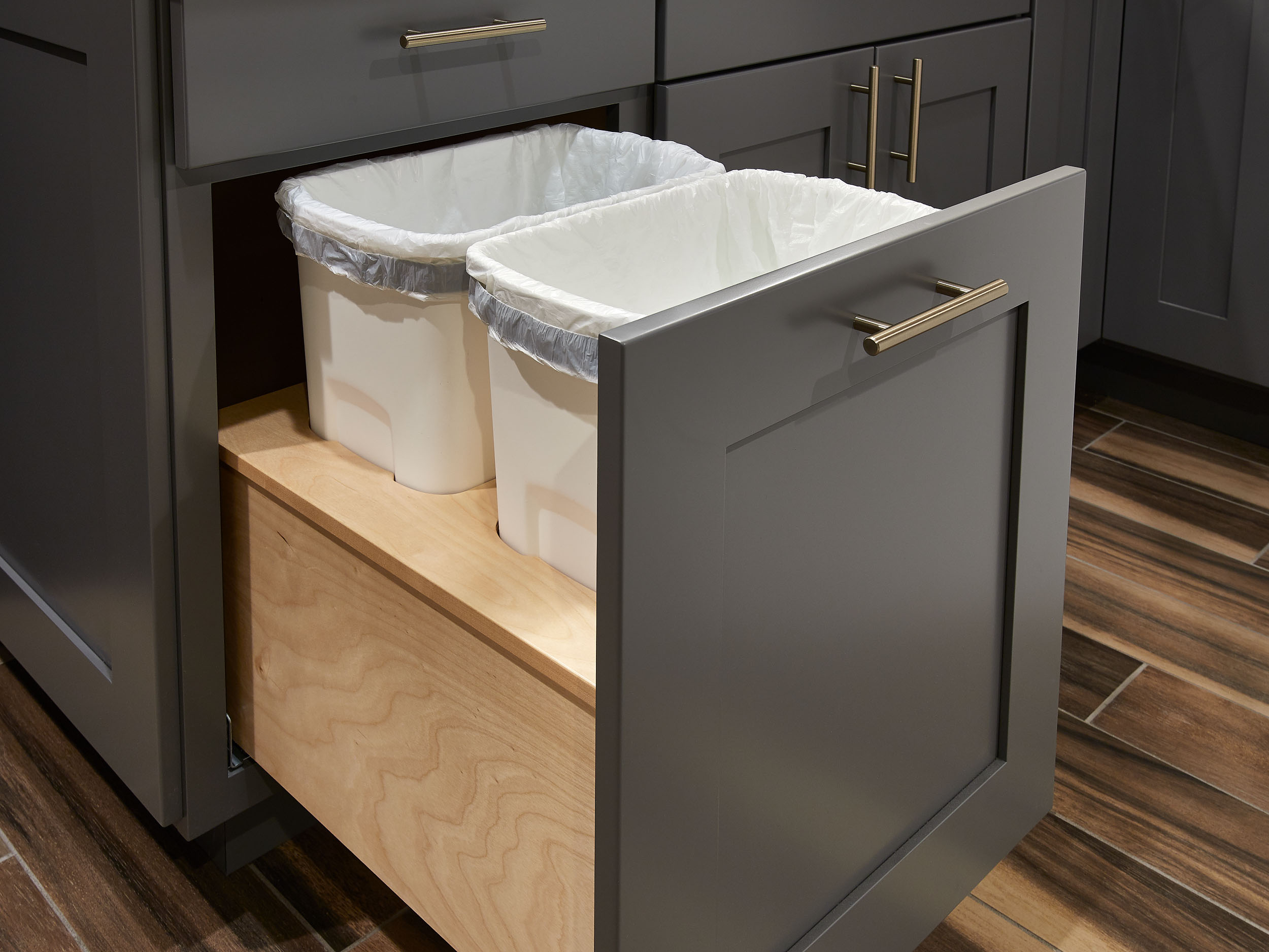 waste or recycle bins crystal cabinets