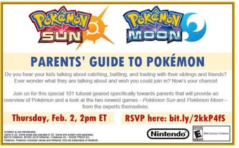 Join Nintendo for Parents' Guide to Pokemon Tomorrow 2/2 at 2pm