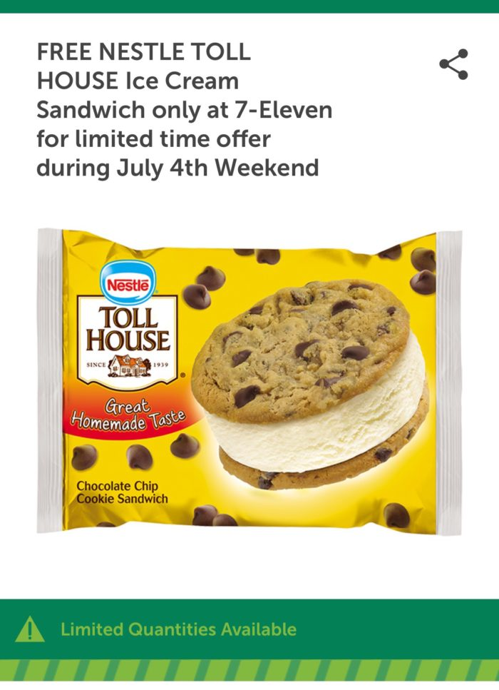 Celebrate 4th of July With a Free Nestle Toll House Ice Cream Sandwich from 7-Eleven