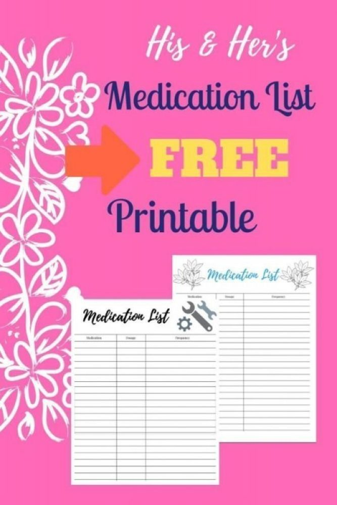 printable medication list for him and her