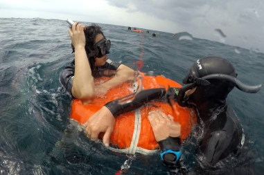 Freediving instructor at work
