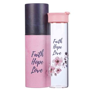 Faith Hope Love (Glass Water Bottle)