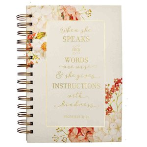When She Speaks Her Words Are Wise (Large Wirebound Journal)