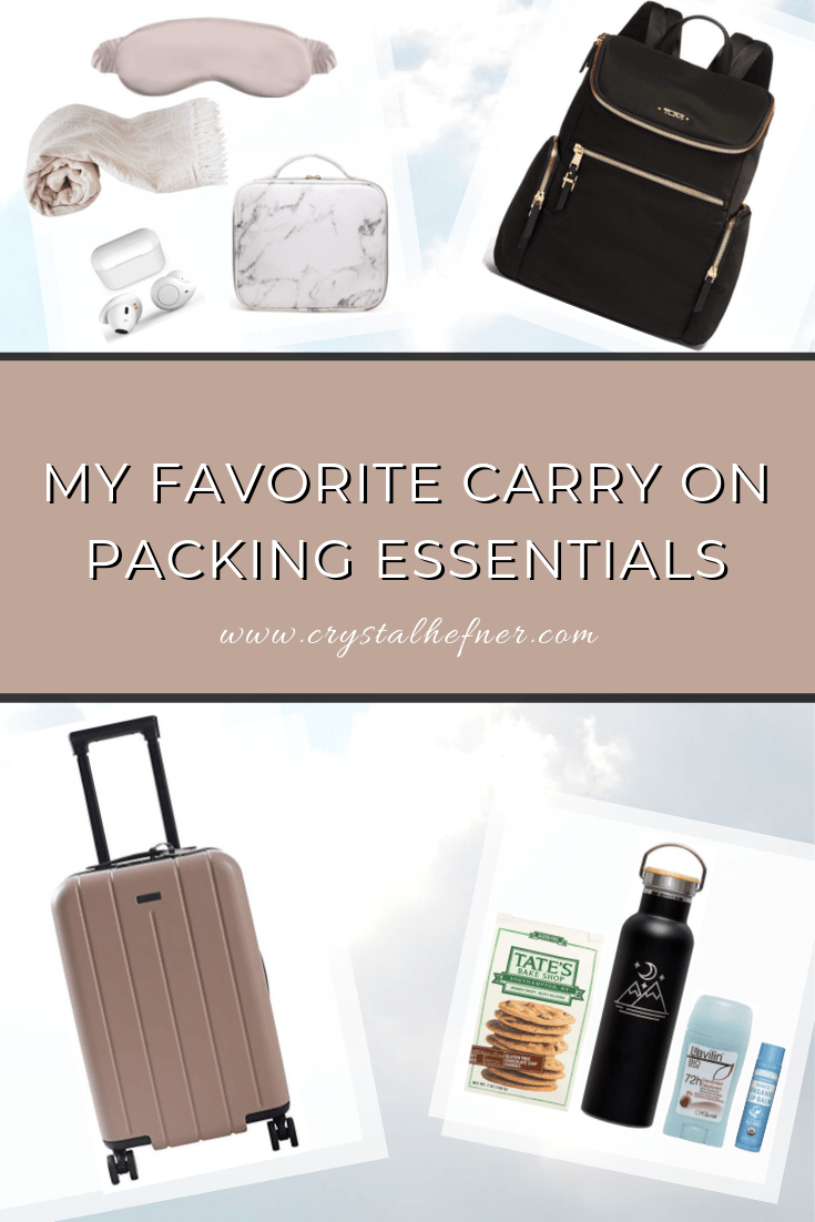 An image of my favorite carry on packing essentials featuring my go-to products, luggage, and in-flight essentials.