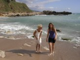 Maja and I considering a dip in the beautiful beach at Byblos.