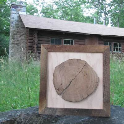 "Framed Log Slice - ""Main Lodge"""