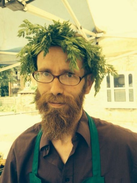 Brockmans: Tim, dressed to sell veg