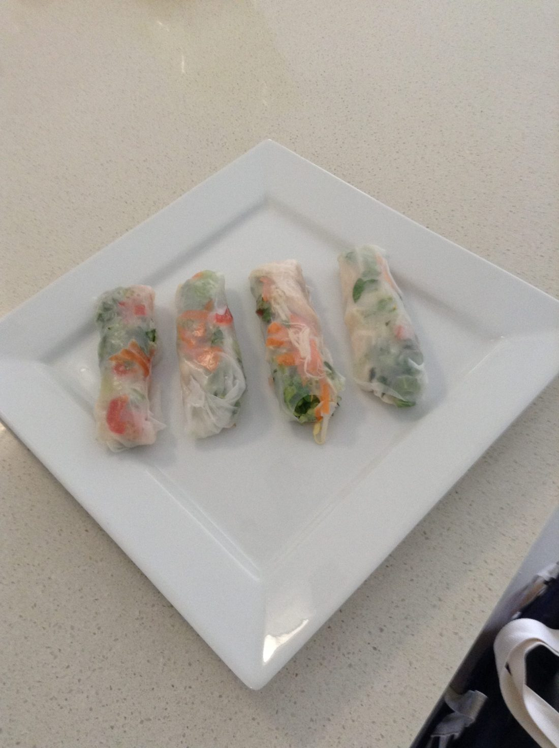 Adding pearls to rice paper rolls