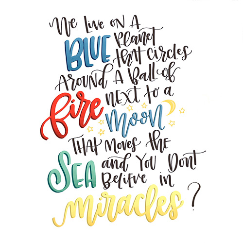 Miracles Quote Lettering