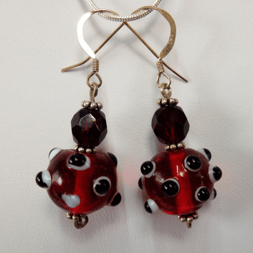 burgundy_red-lampglass_bead-sterling_silver-french_wire-earrings