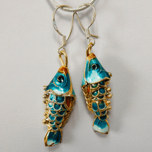 cloisonne-fish-green_white-enamel-sterling_silver-french_wire_earrings