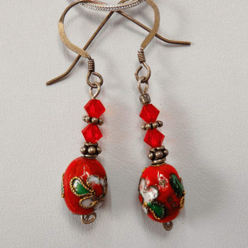 cloisonne-red_egg_with_flowers-swarovski_crystal-silver_spacer_beads-sterling_silver-french_wire_earrings
