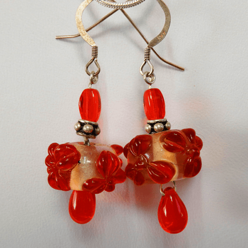 orange-clear-lampglass_bead-accent_orange_glass_bead-sterling_silver-french_wire-earrings