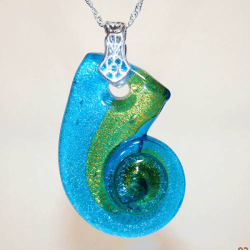 Blue, Green and Silver Fused Glass Seashell