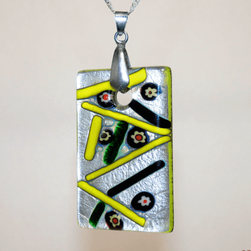 Silver, Green, Yellow, Black and Orange Fused Glass Rectangle