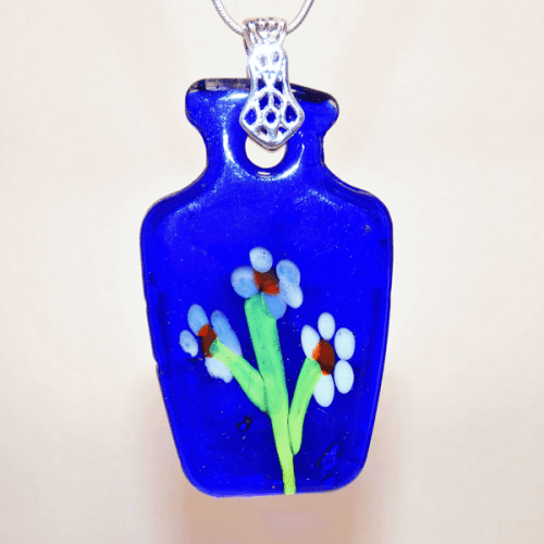 Deep Blue Fused Glass White Flower Vase Pendant