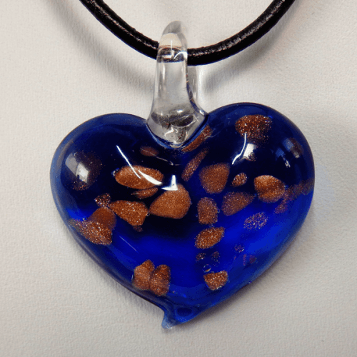 Blue, Gold and Copper Lamp Glass Heart Pendant