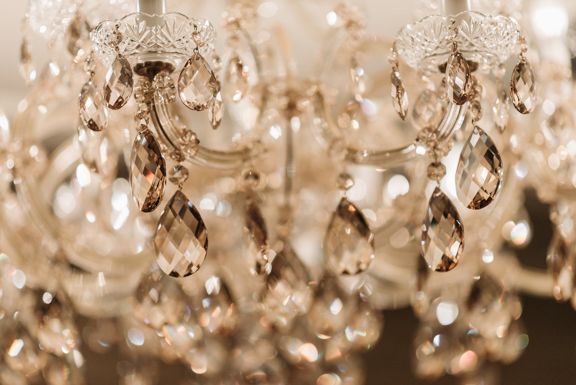 close up shot of a crystal chandelier