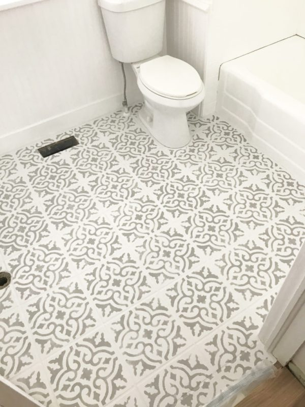 Stencil a floor, paint a floor, painting a tile floor, paint a tile floor, bathroom remodel, bathroom refresh, bathroom update, cottage bathroom