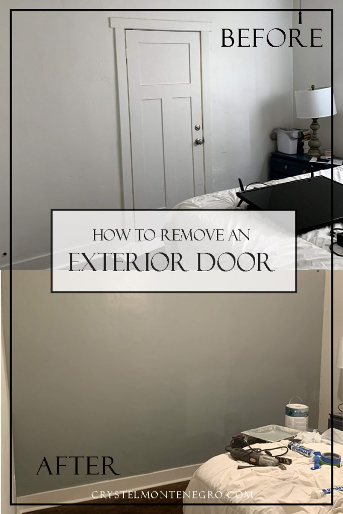 Before and After door removal with text overlay