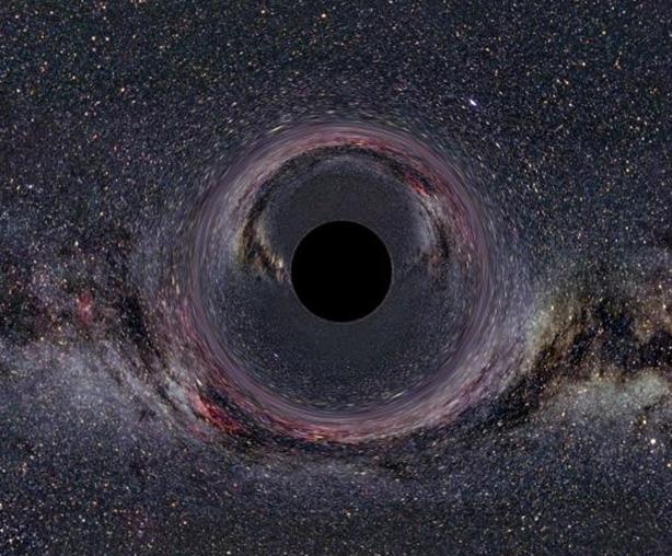 Denne animation viser, hvordan et sort hul foran jorden ville forvrænge nattehimlen.