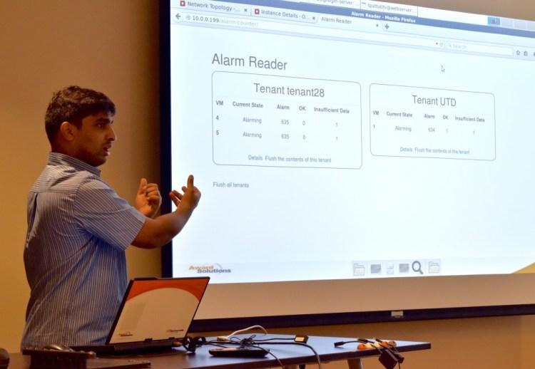 Tejas Pattabhi giving a presentation on Alarm Counter
