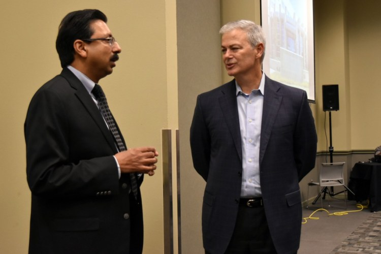 Dr. Gopal Gupta, UT Dallas CS department head, and Bruce Graham President of Tyler Technologies (Prison and Jail Division).