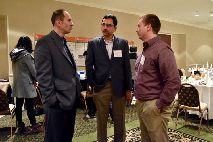 Three of the founding members of UT-Diisc. From the left: Dr. Ovidiu Daescu, Dr. Balakrishnan Prabhakaran, and Dr. Ryan McMahan.