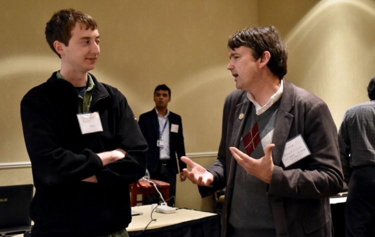From the left: Dr. Benjamin Rachiel, founding UT-DIISC member and UT Dallas CS professor, and Keynote Speaker, Jack S. Snoeyink, National Science Foundation (NSF) program director.