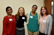 WWC Team Officers (from the left) - Rittika Shamsuddin, Treasurer, Haleigh Rogers, Marketing, Sruthi Chappidi, WWC President, and Esther Goldstein, WWC VP of External Affairs