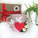 Mug With Heart Roses And Doves Made Of Polymer Clay Kupit Na Yarmarke Masterov Iu8axcom Kruzhki I Chashki St Petersburg