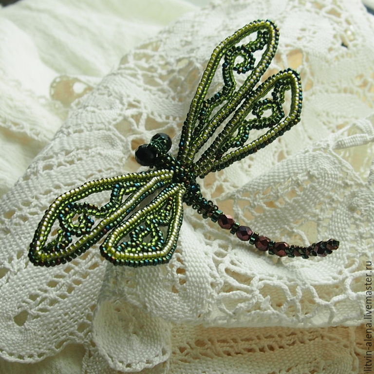 Brooch Green Dragonfly Barrette Beaded Blue Dragonfly
