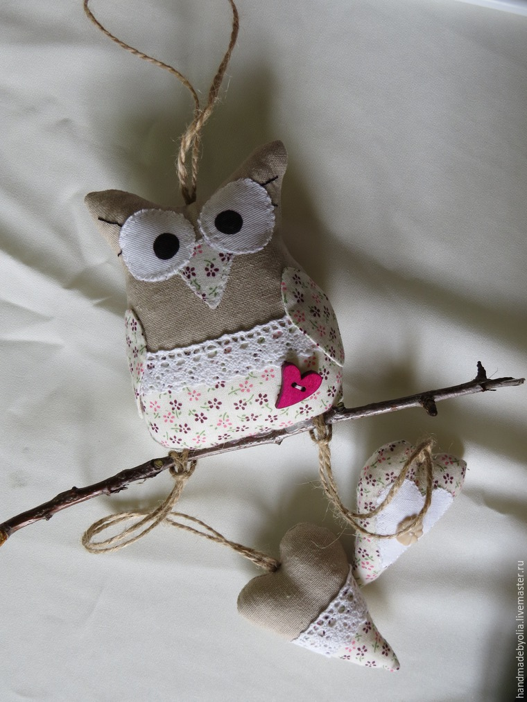 We sew a naughty owl on a branch, photo № 43