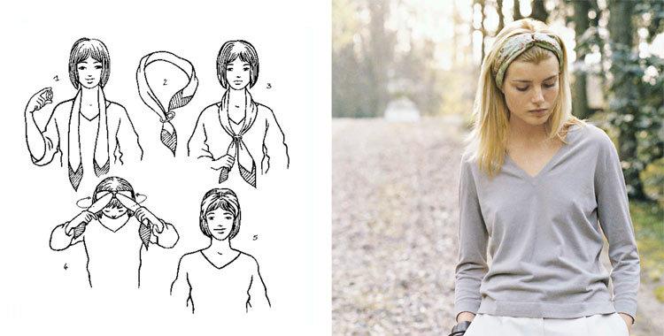손수건을 아름답게 묶는 28 가지 방법, 사진 № 16