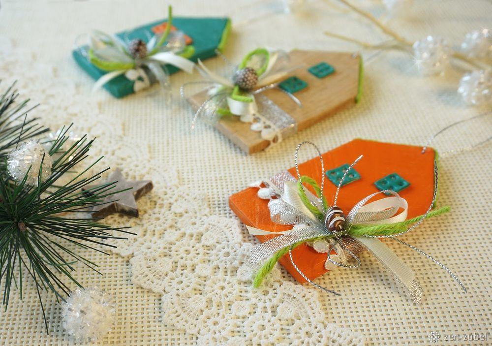 Создаём новогодние игрушки-подвески «Домики», фото № 50