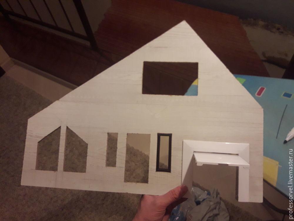 برای ایجاد یک طرح از یک ساختمان مسکونی کشور، ما باید داشته باشیم: ورق فیبر 45 x 32 سانتی متر، مقوا ضخیم از جعبه ها، مقوا سفید، کاغذ دوقلوهای گیلاس و گل های آبی خاکستری، بافت های سنگ چاپ شده برای بنیاد، سنگ فرش، کاشی در تراس، کاشی های سقف، رنگ آبی رنگ صورتی، چاقو لوازم التحریر، چسب تیتانیوم، حاکم، مداد. شما می توانید به کار ادامه دهید ... عکس 13