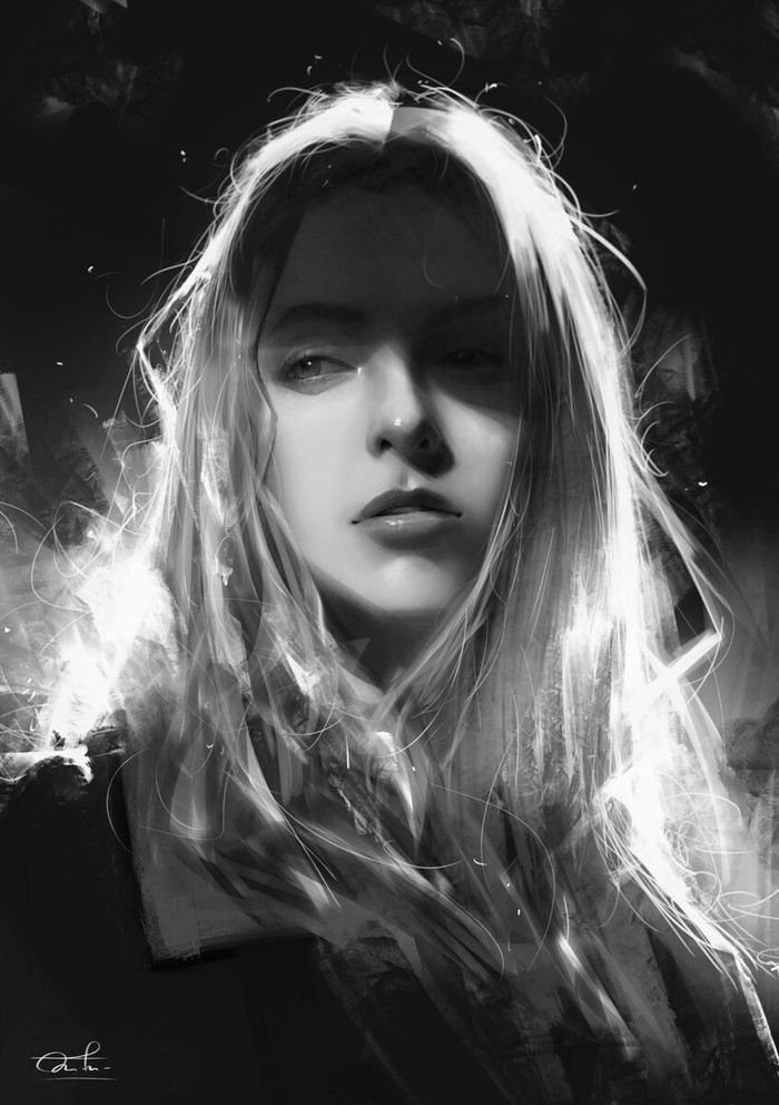 Shadow Арт, Рисунок, Черно-белое, Портрет, Девушки, Тень, Kittichai Rueangchaichan